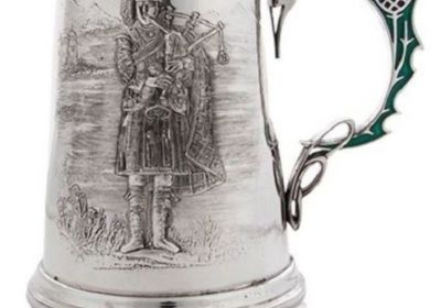 A E Williams Pewter Piper Tankard with Thistle handle